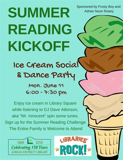 Summer Reading Kick off flyer  June 11 from 6:00 - 7:30 pm